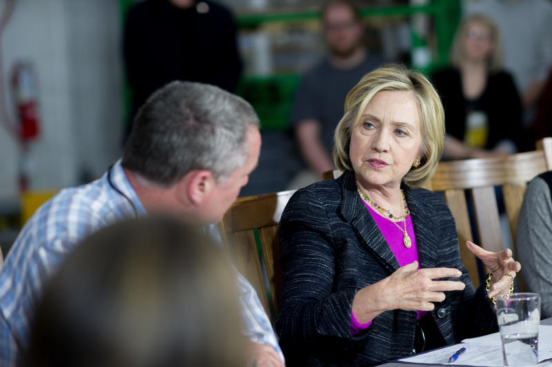 Hillary Clinton during a roundtable discussion at Smuttynose Brewery in Hampton on Friday