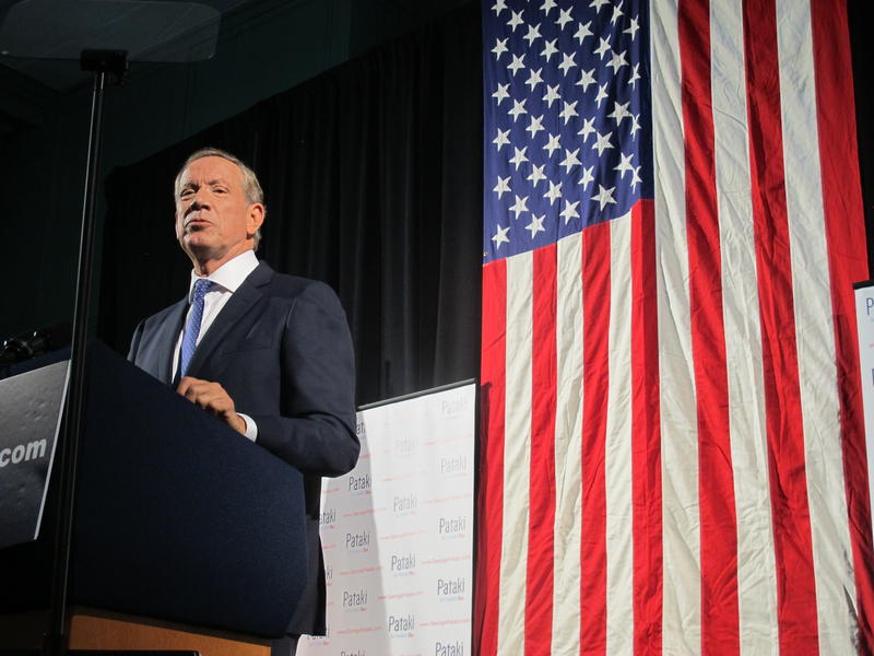 Pataki at his announcement event in Exeter