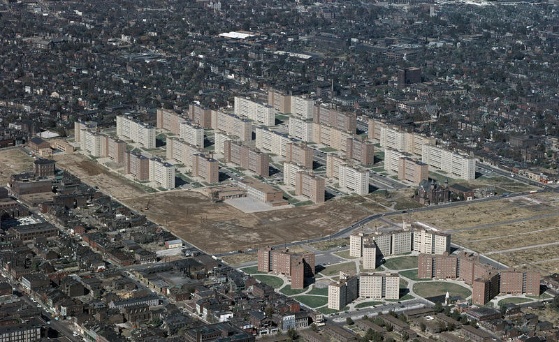 Designed by Minoru Yamasaki, Pruitt and Igoe consisted of the thirty-three buildings pictured. Dramatic images of its demolition made newspapers across the country.