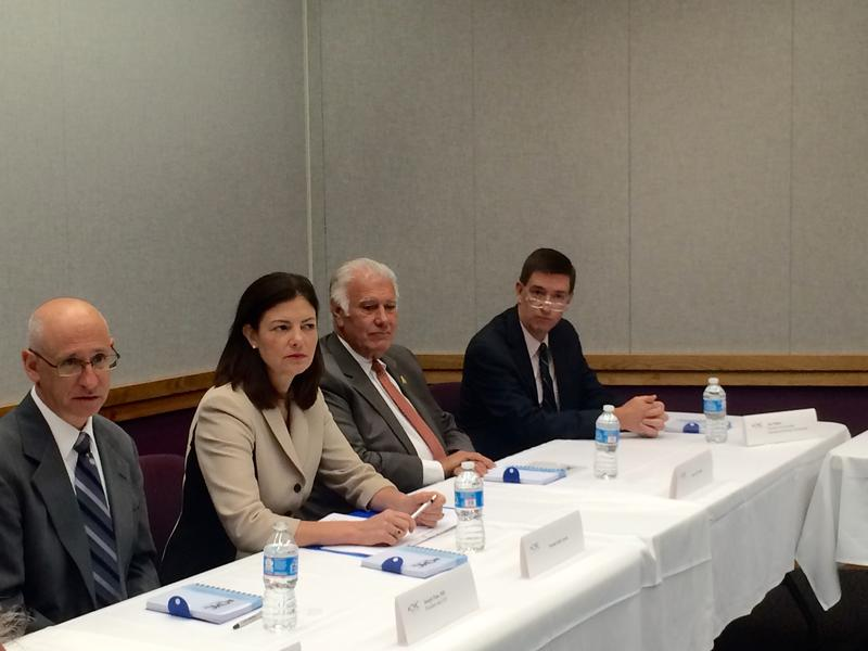 U.S. Sen. Kelly Ayotte and Manchester Mayor Ted Gatsas participate in roundtable discussion at Catholic Medical Center on Monday.