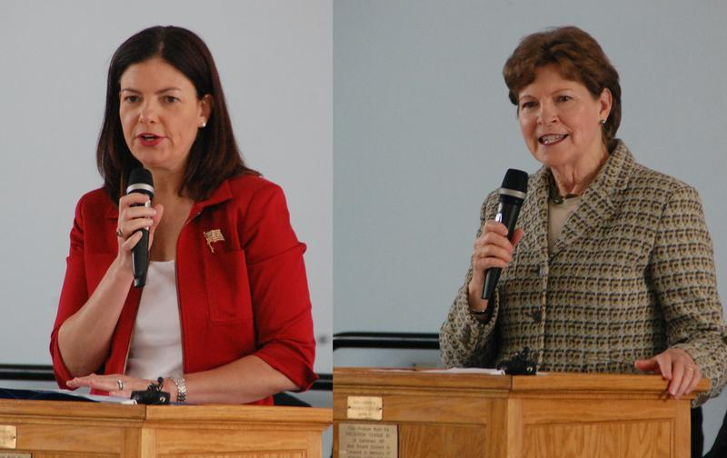 New Hampshire U.S. Senators Kelly Ayotte (left) and Jeanne Shaheen, speaking at the New Hampshire Veterans Home in Tilton, May 25, 2015.