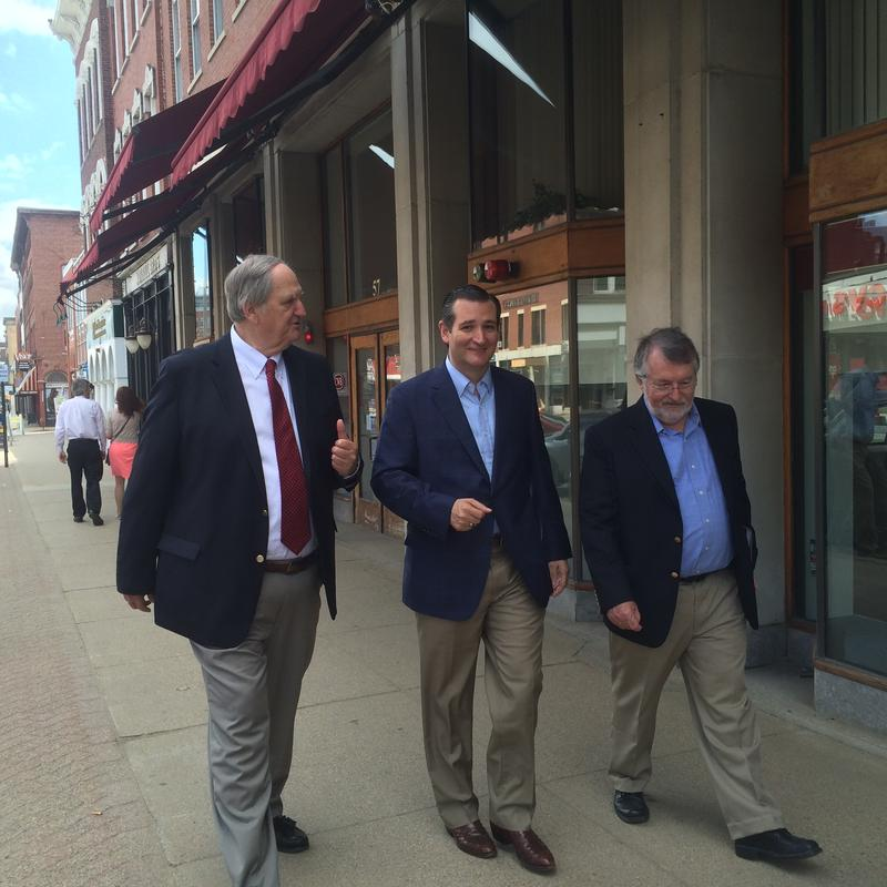 Ted Cruz walks alongside local Republican politicans who have already announced they will endorse him in the GOP race.