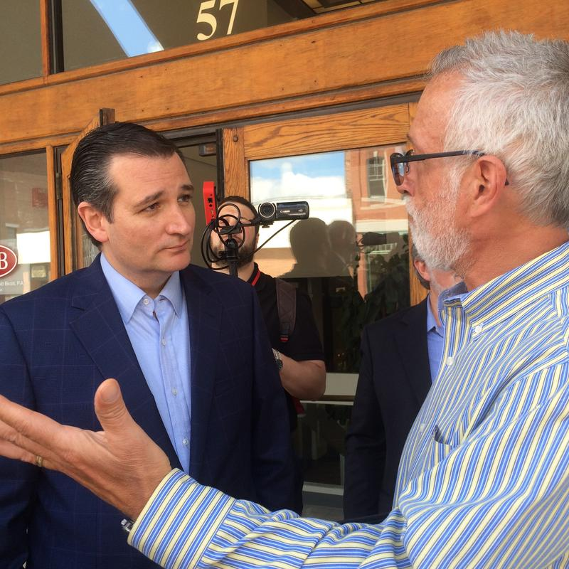 Ted Cruz greets residents in downtown Concord.