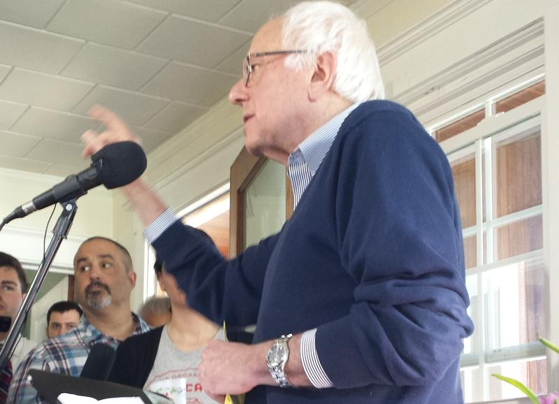 Vermont U.S. Senator Bernie Sanders speaks at a house party event in Manchester, May 2, 2015.