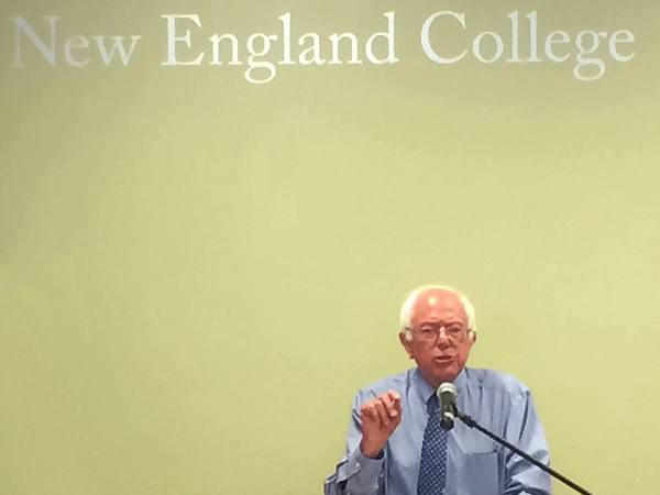 Sen. Bernie Sanders holds his first event at the New England College campus in Concord since announcing his presidential campaign.