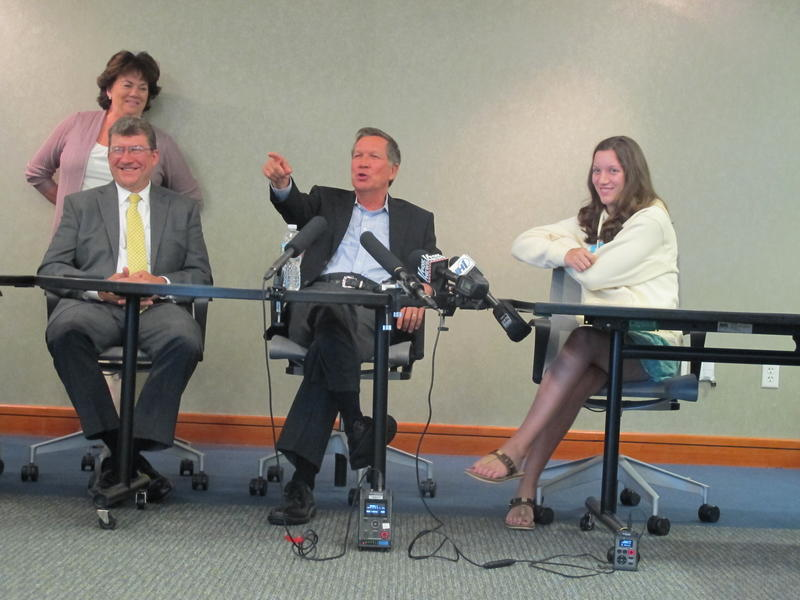 Renee Plummer hosted Ohio Governor John Kasich and his daughter Reese at her offices at the Pease Tradeport.