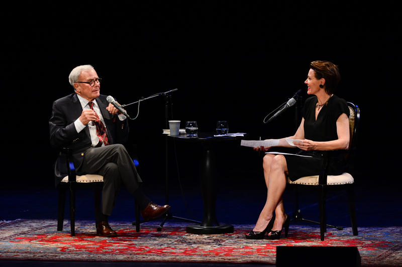 Tom Brokaw and Virginia Prescott on The Music Hall stage