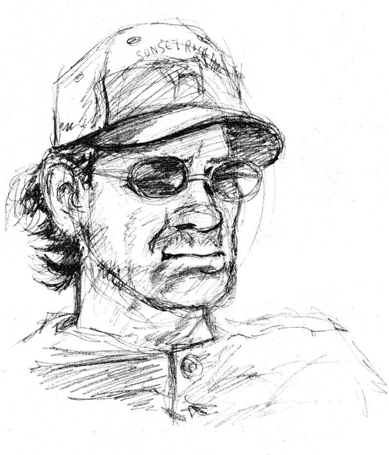 Kelly Swann's field sketch of Kevin Willey