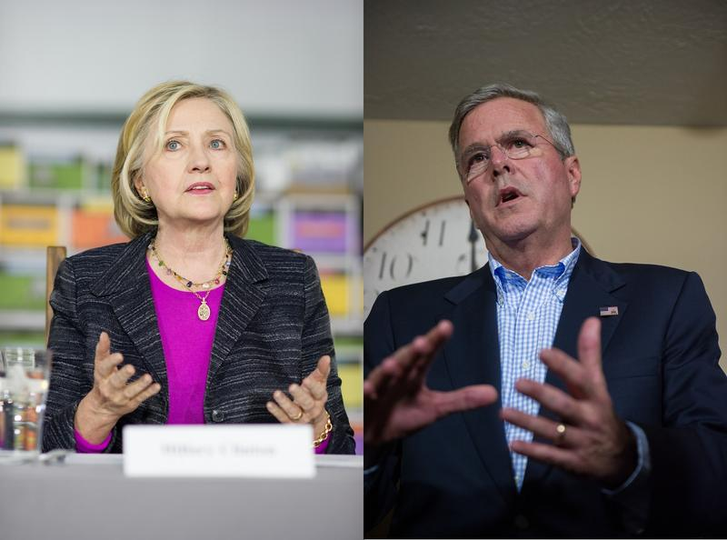Hillary Clinton (left) and Jeb Bush. File photos.