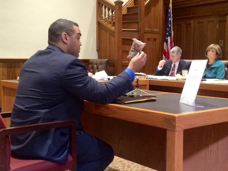 Lt. John Encarnacao of the State Police's narcotics unit holds up a half-an-ounce of marijuana while testifying against the decriminalization bill In April stressing that this is no little amount.