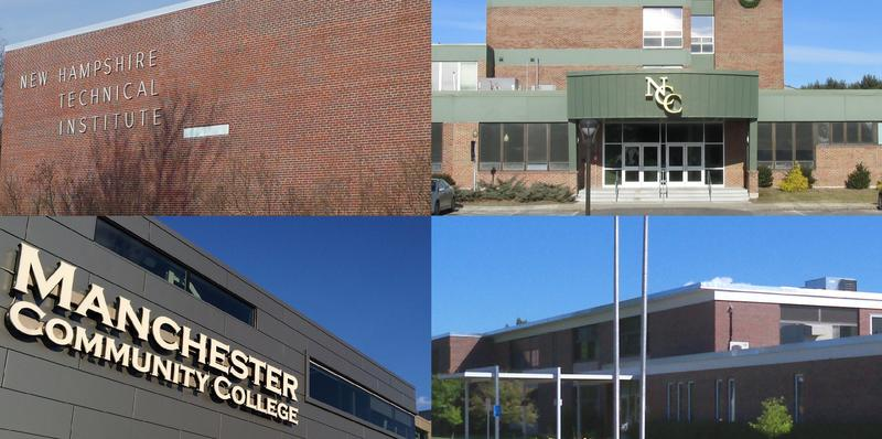 Clockwise from top left: NHTI, Nashua Community College, White Mountains Community College, Manchester Community College