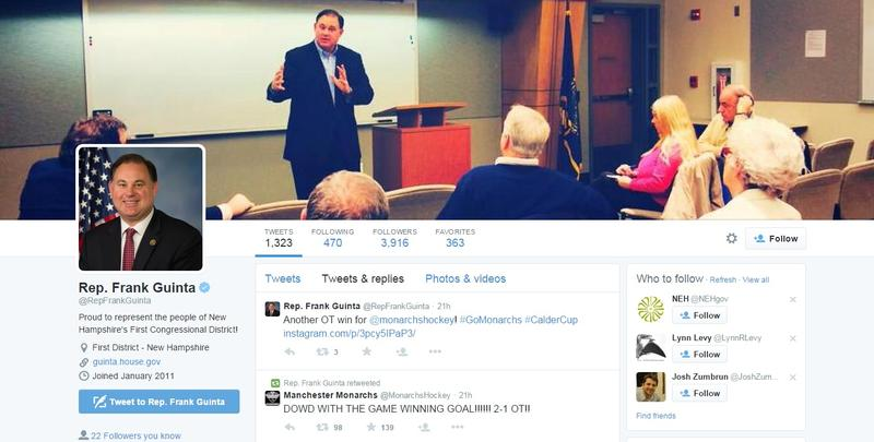 A screenshot of Rep. Frank Guinta's Twitter feed from June 8, 2015.