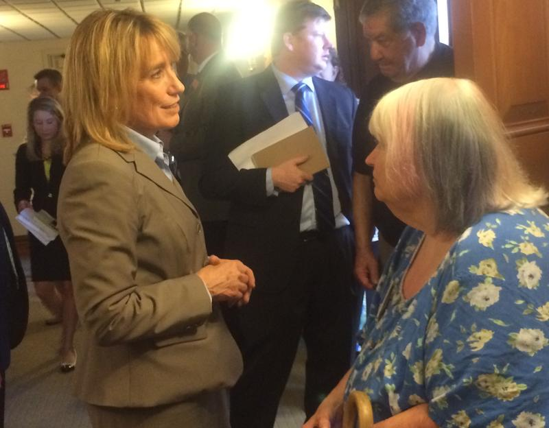 Gov. Maggie Hassan met with Democrats Wednesday before the start of final budget negotiations.