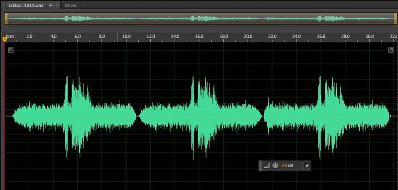 """The mysterious sound known as """"Julia"""" shown as a .wav file, three times. Looks like a ghost submarine to us."""