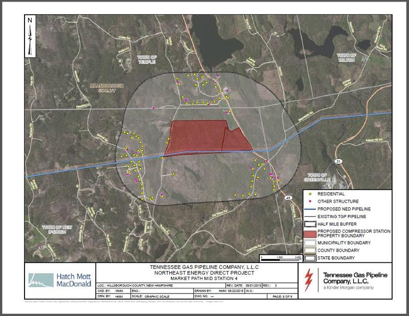 A map submitted to the Federal Energy Regulatory Commission shows the properties where the proposed compressor station would go.