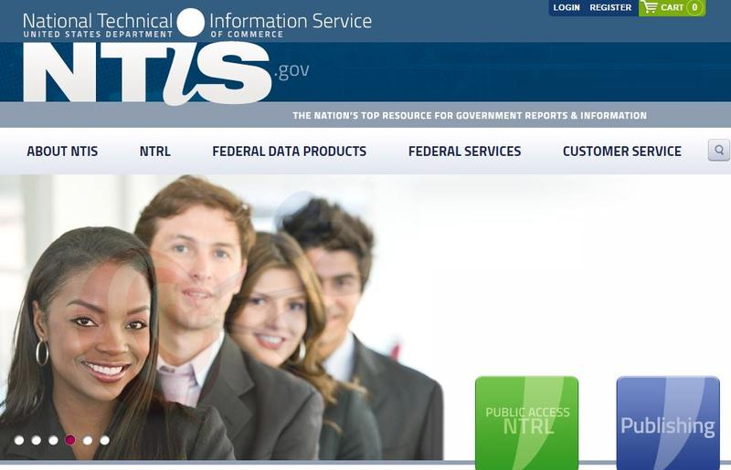Screenshot from the NTIS home page