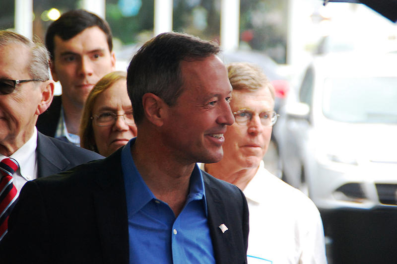 Former Maryland Governor Martin O'Malley campaigns in Manchester, May 31, 2015.