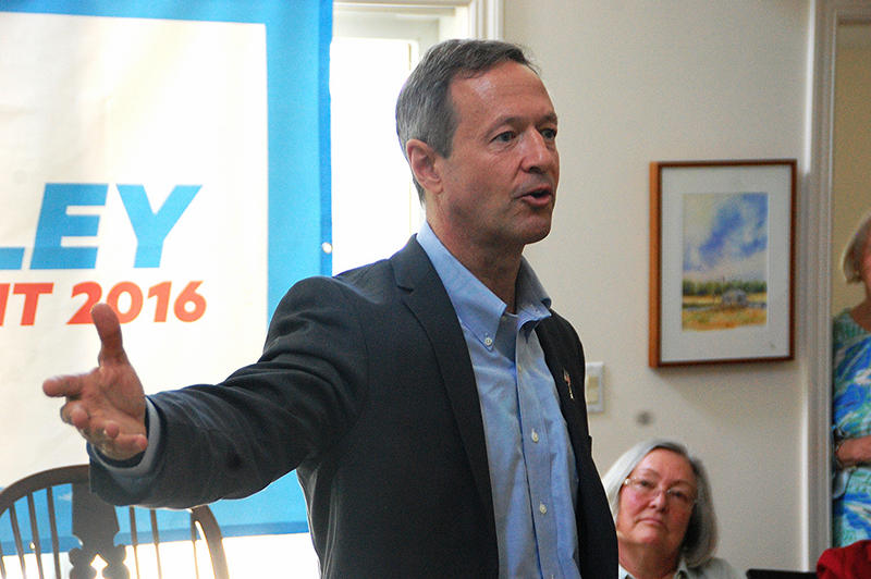 Former Maryland Governor Martin O'Malley speaks at a house party in New Castle, June 13, 2015.