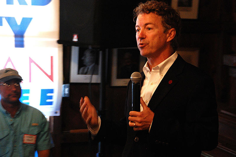 Kentucky US Senator Rand Paul speaks in Concord, June 6, 2015.