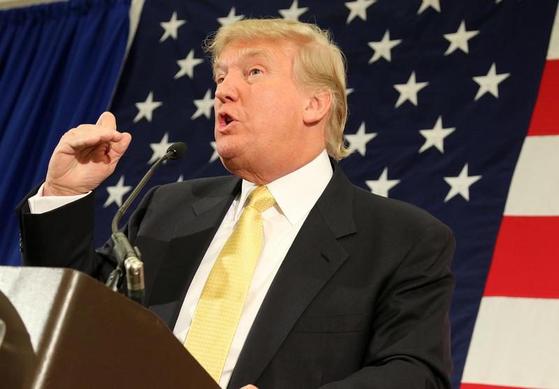 Donald Trump speaking at a GOP leadership summit in N.H. in April 2015