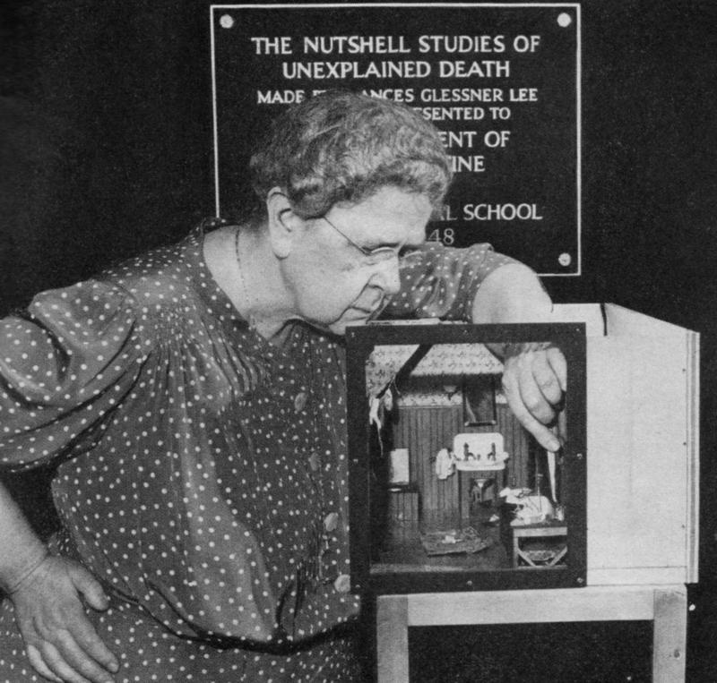 Frances Glessner Lee and one of her nutshell studies, photographed for the Saturday Evening Post in 1949.