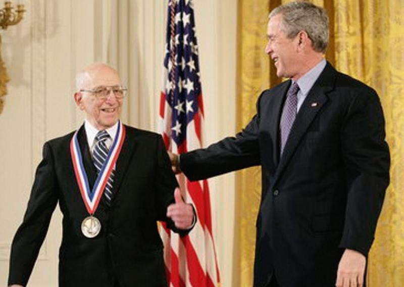President George W. Bush presents a National Medal of Technology, Monday, Feb. 13, 2006 to Ralph H. Baer of Manchester, N.H.