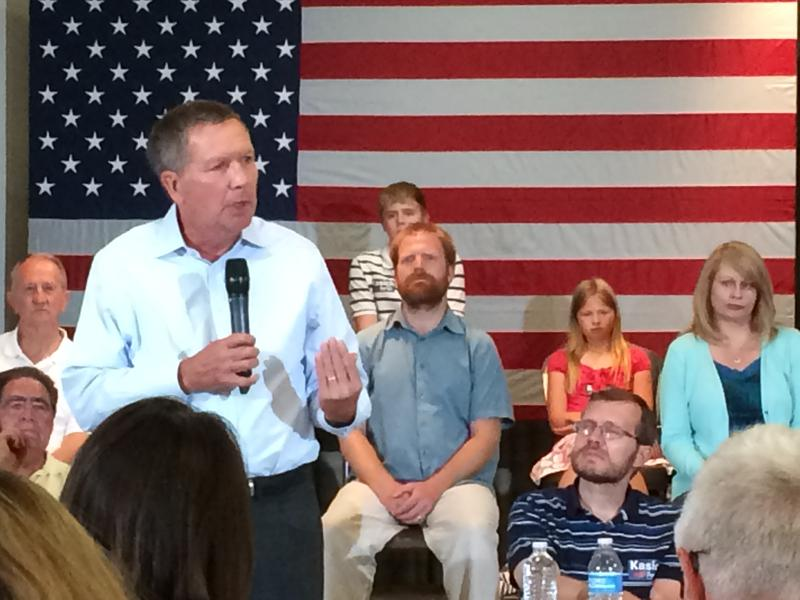 Ohio Gov. John Kasich spoke of his record as congressman and governor to a crowd at Rivier University Tuesday night.