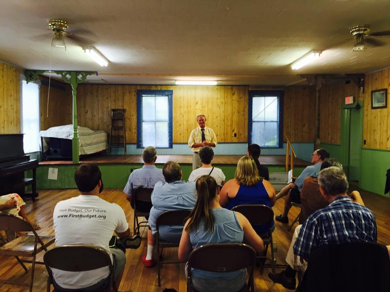 Former Rhode Island governor Lincoln Chafee spoke to a small group in Winchester Thursday night.