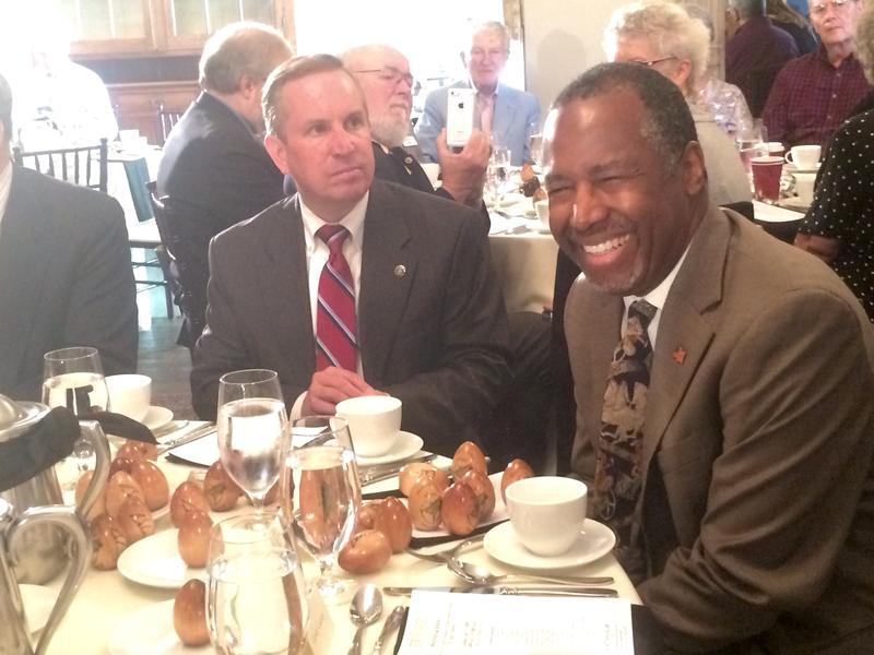 Dr. Ben Carson spoke at Politics and Eggs in Bedford on Tuesday afternoon.