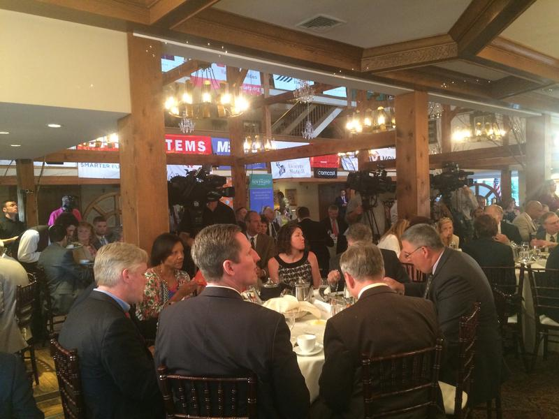 Dozens of people were in attendance at Tuesday's Politics and Eggs at the Bedford Village Inn.