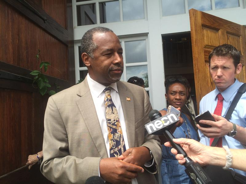 Dr. Ben Carson spoke with reporters after attending Politics and Eggs in Bedford on Tuesday.