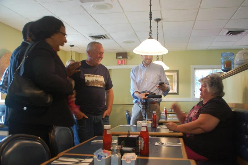 Candy Carson (left), wife of Republican presidential candidate Ben Carson chats with supporters at Concord's Corner View Restaurant Wednesday.