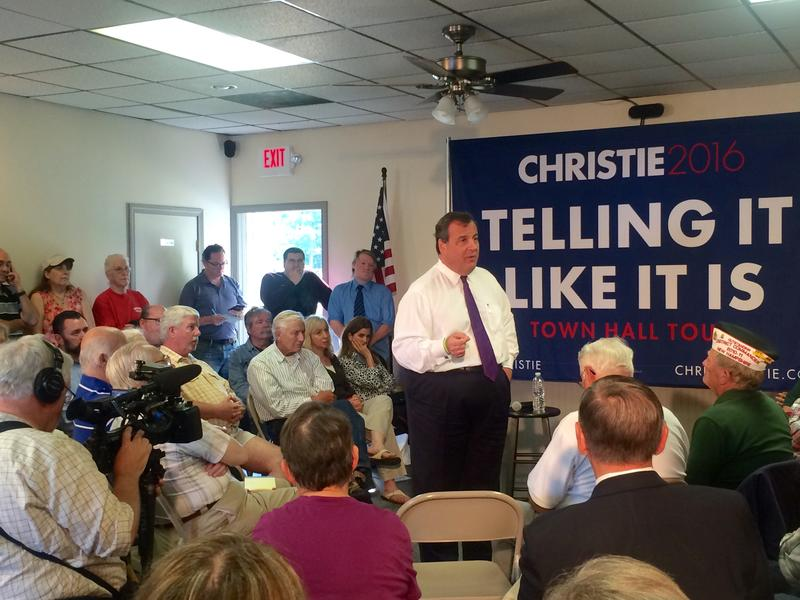 Before every town hall meeting begins, Christie takes off his jacket. He sy