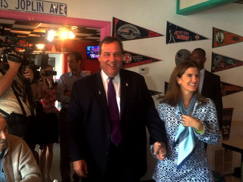 Christie and his wife Mary Pat greeted customers at The Pink Cadillac Diner in Rochester Thursday morning.
