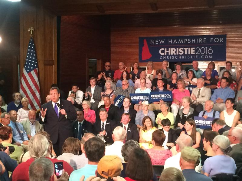 Christie's first stop during his five-day trip to N.H. was for a town hall meeting in Sandown Tuesday night.