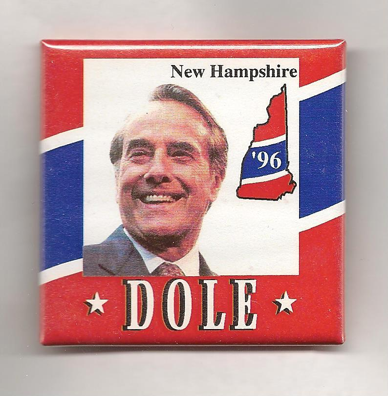 Button from Dole's 1996 N.H. Primary campaign