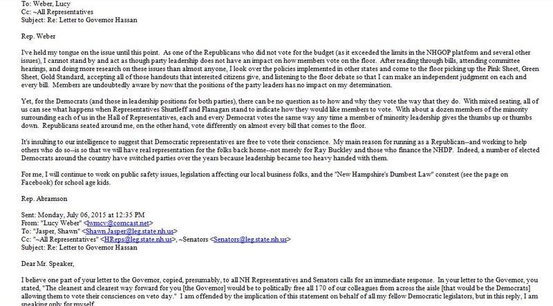 An excerpt  of the email exchange among legislators in recent days