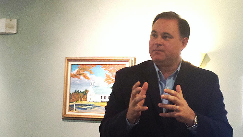 1st District Rep. Frank Guinta speaks at a town hall meeting in Alton, July 11, 2015.