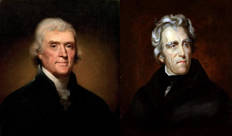 portraits of Thomas Jefferson and Andrew Jackson