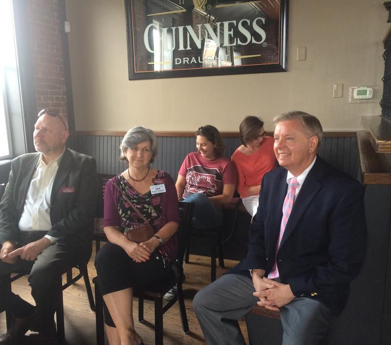 Sen. Lindsey Graham of South Carolina attends an event at The Halligan Tavern in Derry Monday morning.