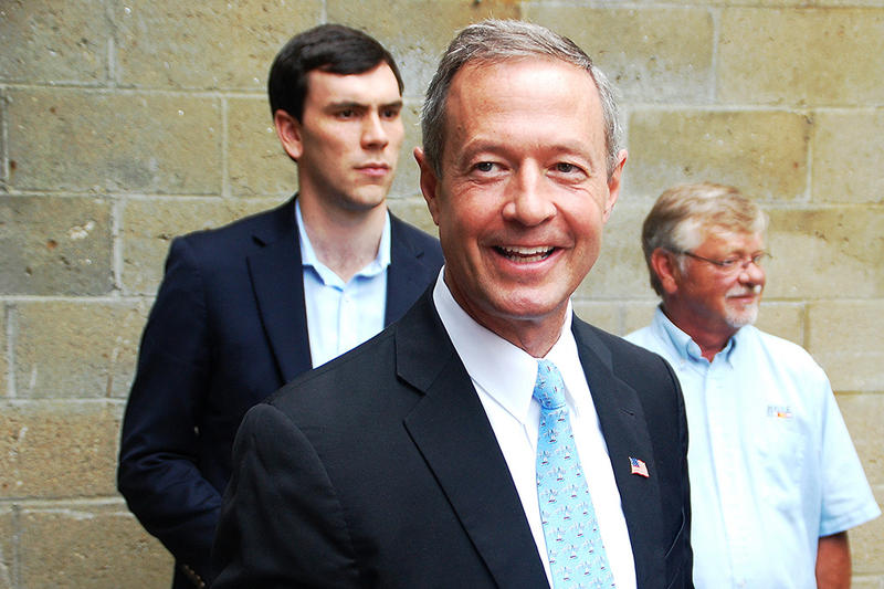 Former Maryland Governor Martin O'Malley following a speech in Concord, July 26, 2015.