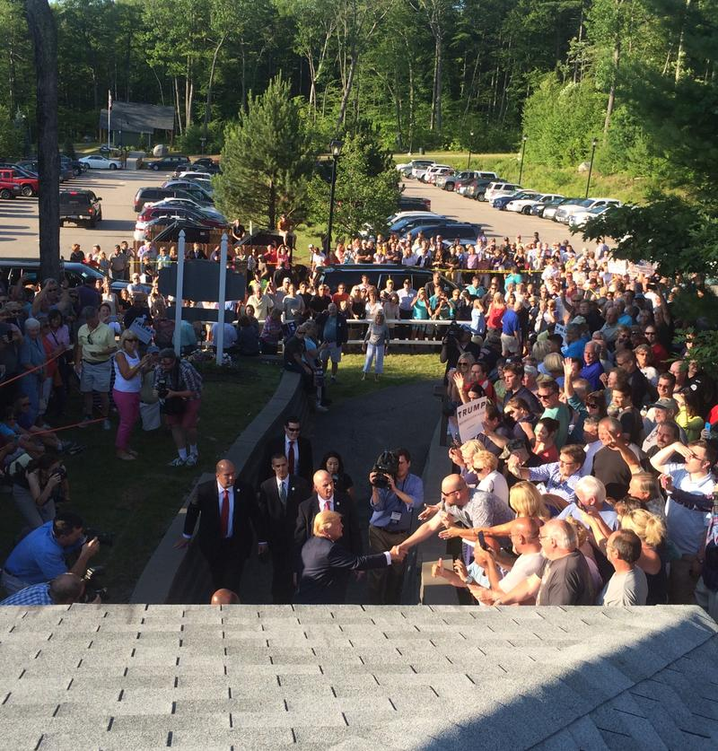 More than 1,000 people greeted Donald Trump as he entered the Weir's Community Center.