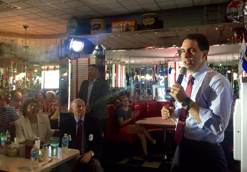 Wisconsin Governor Scott Walker speaks at Joey's Diner in Amherst, July 16, 2015.