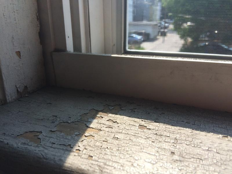 A windowsill in the backstairwell of the apartment sits at Aleel's eye level.