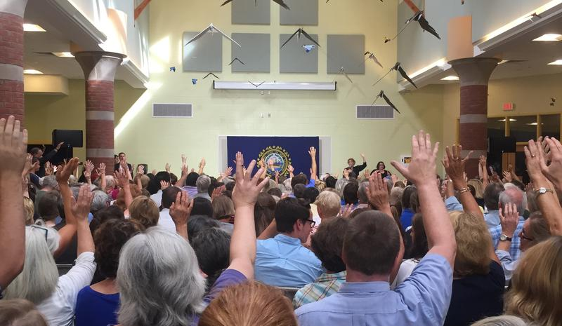 Voters at the forum were asked to raise their hands if substance abuse had affected their lives.