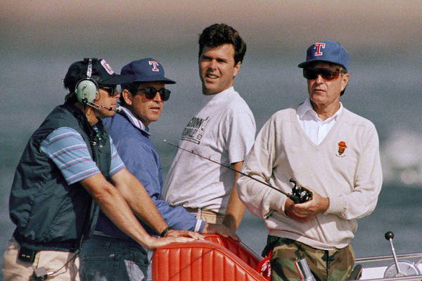 Jeb Bush, center, in August 1989 with his father, President George H.W. Bush, and brother George W. off the Maine coast near Kennebunkport.
