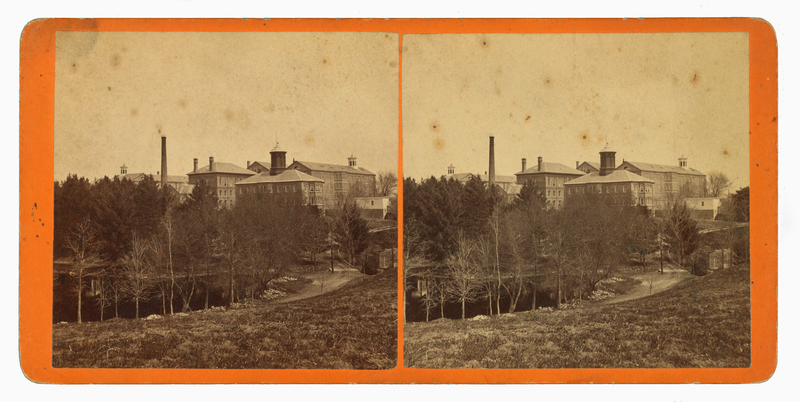 The former New Hampshire Asylum for the Insane is seen in a mid-19th century stereograph.
