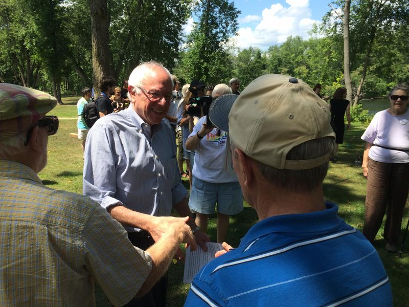 Bernie Sanders greets voters in Concord Saturday. His campaign's main challenge now is how to turn enthusiastic supporters into an actual campaign structure.