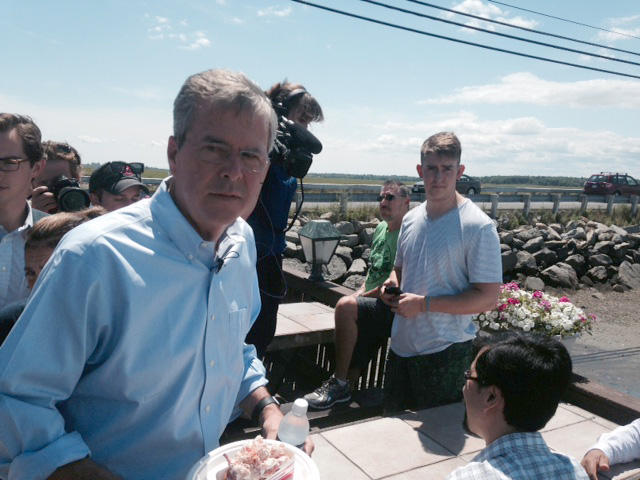 Bush outside Brown's Lobster Pound in Seabrook, NH