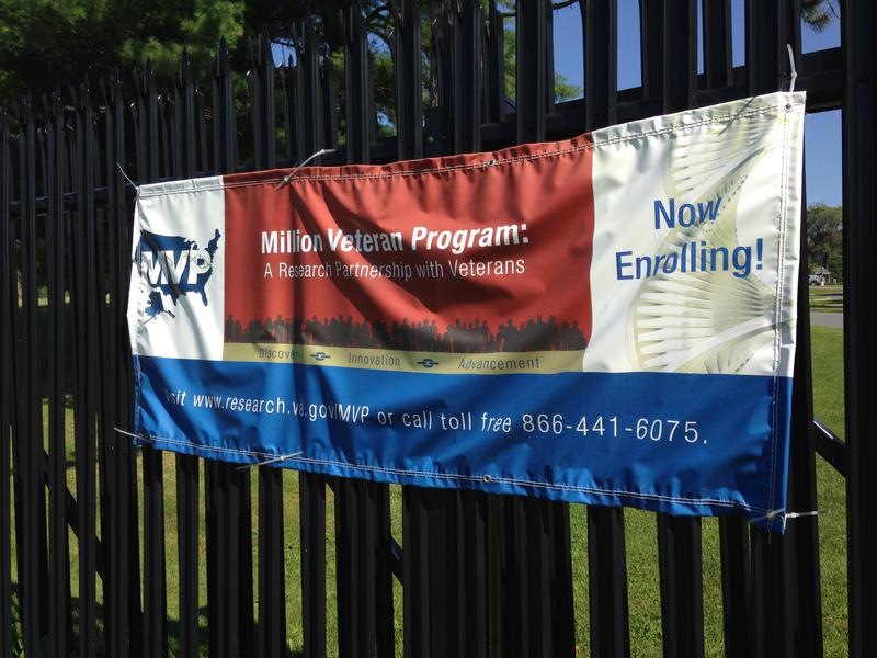 A sign outside the gate at the White River Junction, Vt., VA hospital advertises the Million Veterans Project.